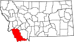 Map of Montana showing Beaverhead County