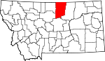 Map of Montana showing Blaine County