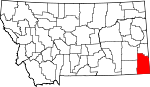 Map of Montana showing Carter County