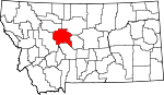 Map of Montana showing Cascade County
