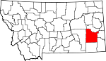Map of Montana showing Custer County