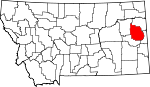 Map of Montana showing Dawson County