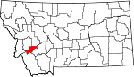 Map of Montana showing Deer Lodge County