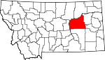 Map of Montana showing Garfield County