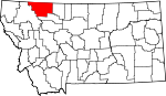 Map of Montana showing Glacier County