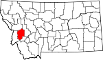 Map of Montana showing Granite County