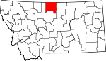 Map of Montana showing Hill County