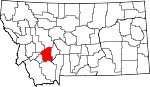 Map of Montana showing Jefferson County