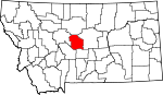 Map of Montana showing Judith Basin County