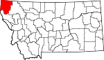 Map of Montana showing Lincoln County