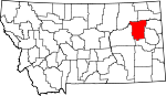 Map of Montana showing McCone County