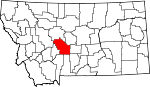 Map of Montana showing Meagher County