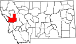 Map of Montana showing Missoula County