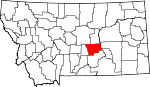 Map of Montana showing Musselshell County