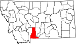Map of Montana showing Park County