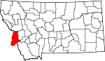 Map of Montana showing Ravalli County