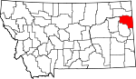 Map of Montana showing Richland County