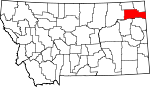 Map of Montana showing Roosevelt County