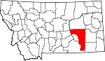 Map of Montana showing Rosebud County