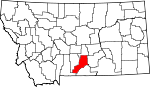Map of Montana showing Stillwater County