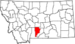 Map of Montana showing Sweet Grass County