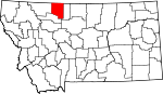 Map of Montana showing Toole County