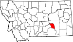 Map of Montana showing Treasure County