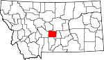 Map of Montana showing Wheatland County