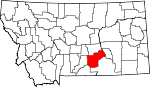 Map of Montana showing Yellowstone County