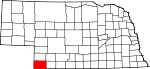 Map of Nebraska showing Dundy County