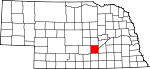 Map of Nebraska showing Hall County