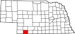 Map of Nebraska showing Hitchcock County