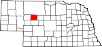 Map of Nebraska showing Hooker County