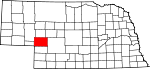 Map of Nebraska showing Keith County