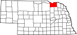 Map of Nebraska showing Knox County