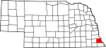 Map of Nebraska showing Nemaha County