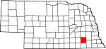 Map of Nebraska showing Saline County