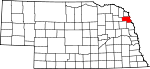 Map of Nebraska showing Thurston County