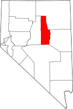 Map of Nevada showing Eureka County