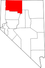 Map of Nevada showing Humboldt County