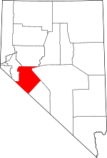 Map of Nevada showing Mineral County