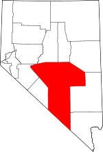 Map of Nevada showing Nye County