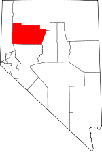 Map of Nevada showing Pershing County