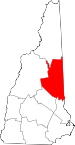 Map of New Hampshire showing Carroll County