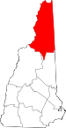 Map of New Hampshire showing Coos County