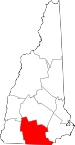 Map of New Hampshire showing Hillsborough County
