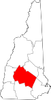 Map of New Hampshire showing Merrimack County