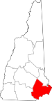 Map of New Hampshire showing Rockingham County