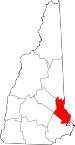 Map of New Hampshire showing Strafford County