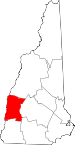 Map of New Hampshire showing Sullivan County